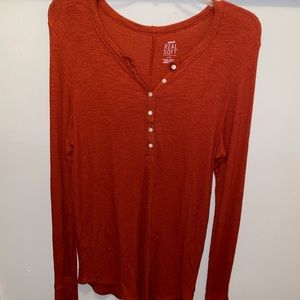 American Eagle Aerie Orange Waffle Knit top xl